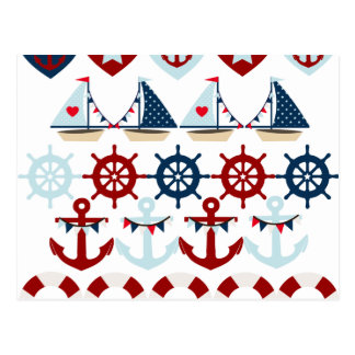 Summer Nautical Theme Anchors Sail Boats Helms Postcard