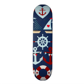 Summer Nautical Theme Anchors Sail Boats Helms Skate Deck