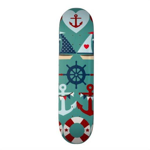 Summer Nautical Theme Anchors Sail Boats Helms Skateboard Decks