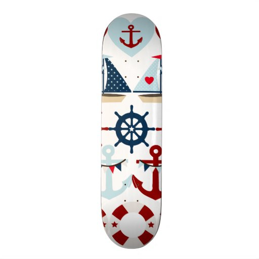 Summer Nautical Theme Anchors Sail Boats Helms Skate Deck