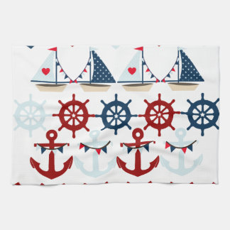 Summer Nautical Theme Anchors Sail Boats Helms Tea Towel