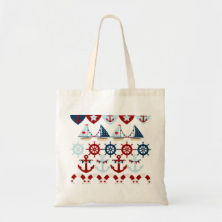 Summer Nautical Theme Anchors Sail Boats Helms Tote Bag