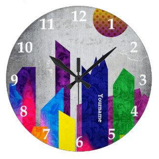 Summer Night City Colorful Trendy Flat Geometric Wall Clocks