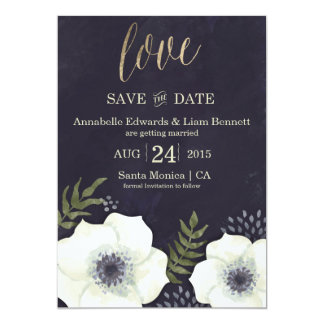 Summer Night Flowers Wedding Save the Date Card 13 Cm X 18 Cm Invitation Card