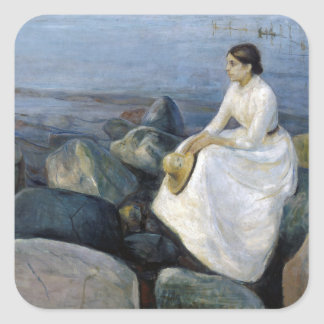 Summer Night. Inger on the Beach by Edvard Munch Square Sticker
