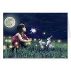 Summer Night Wishes Blank Greeting Card
