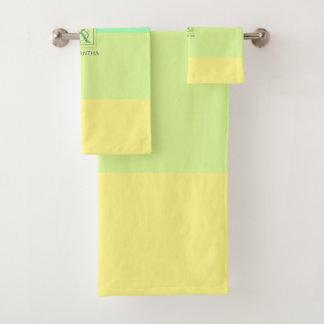 Summer Ocean Lime Color Palette Stripes Monogram Bath Towel Set