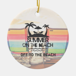 Summer on the  Beach | Personalized Round Ceramic Decoration