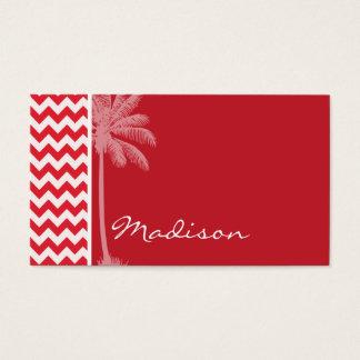 Summer Palm; Alizarin Crimson Chevron; zig zag Business Card