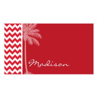 Summer Palm; Alizarin Crimson Chevron; zig zag Business Cards