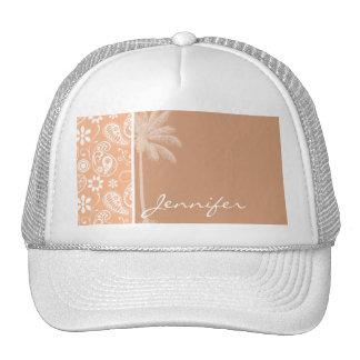 Summer Palm; Apricot Color Paisley; Floral Cap