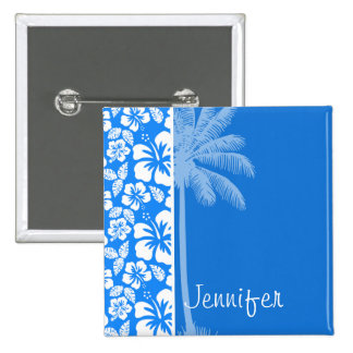 Summer Palm; Azure Blue Tropical Hibiscus Pin