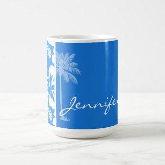 Summer Palm; Azure Blue Tropical Hibiscus Basic White Mug