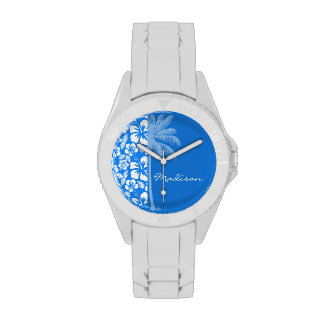 Summer Palm; Azure Blue Tropical Hibiscus Watches