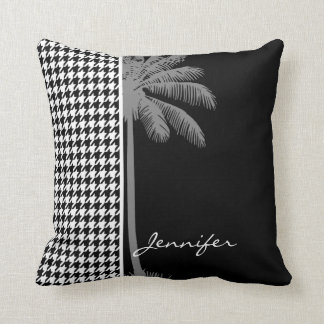 Summer Palm Black Houndstooth Cushion