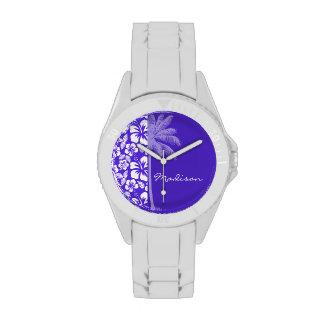 Summer Palm; Blue Violet Tropical Hibiscus Wristwatches