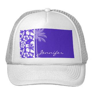 Summer Palm; Blue Violet Tropical Hibiscus Mesh Hat