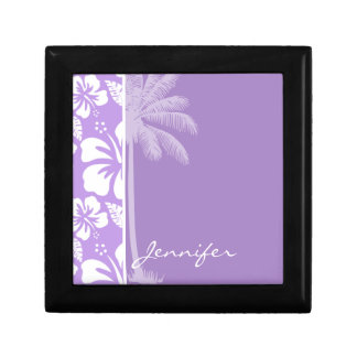 Summer Palm; Bright Lavender Tropical Hibiscus Small Square Gift Box