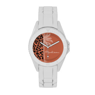 Summer Palm; Burnt Sienna Leopard Animal Print Wrist Watch