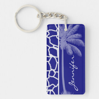 Summer Palm Dark Blue Giraffe Print Key Chain