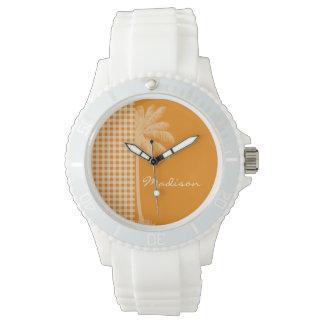 Summer Palm; Dark Orange Gingham Wristwatch