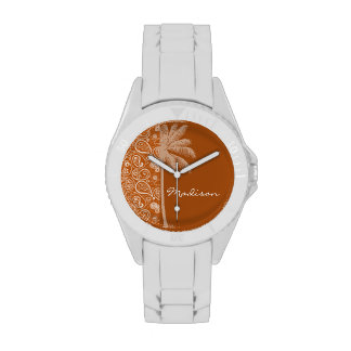 Summer Palm on Burnt Orange Paisley; Floral Watches