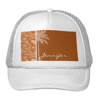 Summer Palm on Burnt Orange Paisley; Floral Trucker Hat
