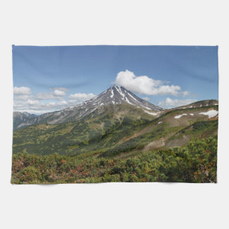 Summer panorama of beautiful volcanic landscape kitchen towels