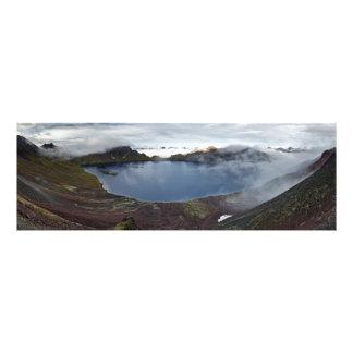 Summer panorama view of crater lake of volcano photo print