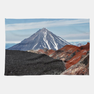 Summer panoramic volcanic landscape tea towel