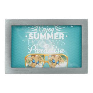 Summer Paradise Design Rectangular Belt Buckle