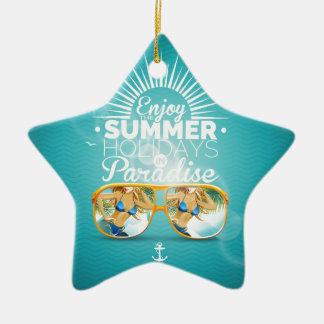 Summer Paradise Design Ceramic Star Decoration