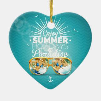 Summer Paradise Design Ceramic Heart Decoration