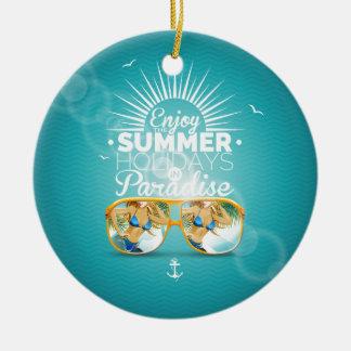 Summer Paradise Design Round Ceramic Decoration