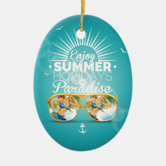 Summer Paradise Design Ceramic Oval Decoration