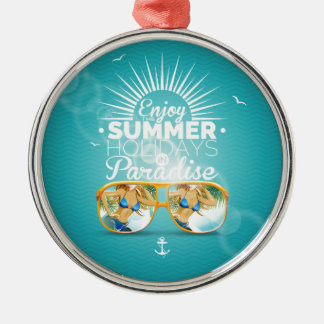 Summer Paradise Design Silver-Colored Round Decoration