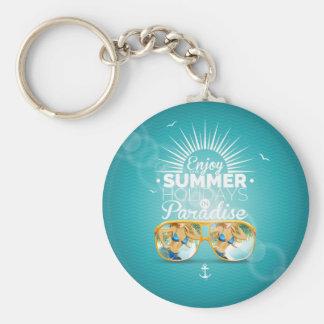 Summer Paradise Design Basic Round Button Key Ring