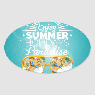 Summer Paradise Design Oval Sticker