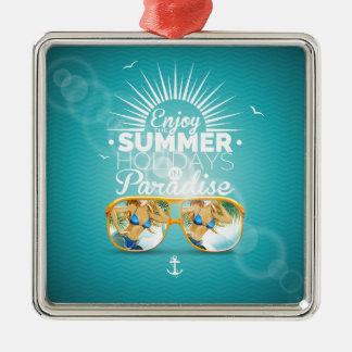 Summer Paradise Design Silver-Colored Square Decoration