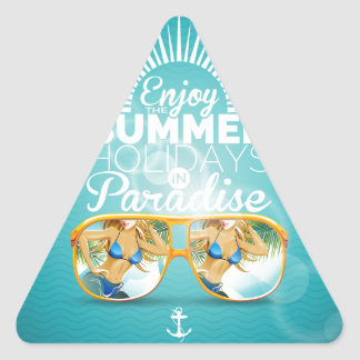 Summer Paradise Design Triangle Sticker