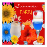 Summer Party Cocktails Drinks Red Blue Yellow 13 Cm X 13 Cm Square Invitation Card