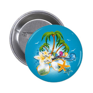 Summer Party design with speaker and sunglasses 6 Cm Round Badge