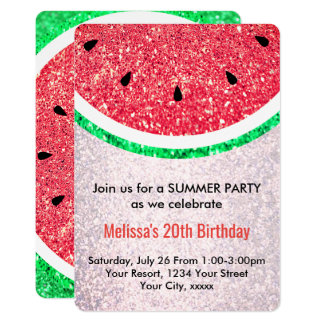 summer party faux glitter watermelon card