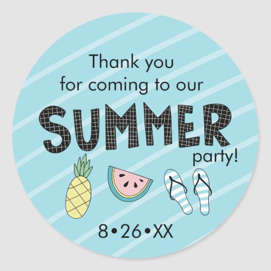 Summer Party! Fun Beach theme Classic Round Sticker