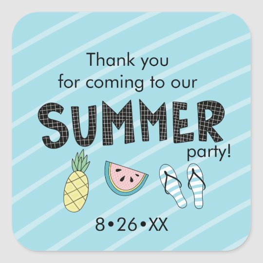 Summer Party! Fun Beach theme Square Sticker