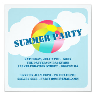 Summer Party Fun Time Beach Ball Invitation
