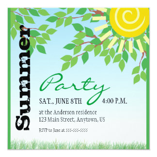 Summer Party, Green Leaves, Yellow Sun 13 Cm X 13 Cm Square Invitation Card