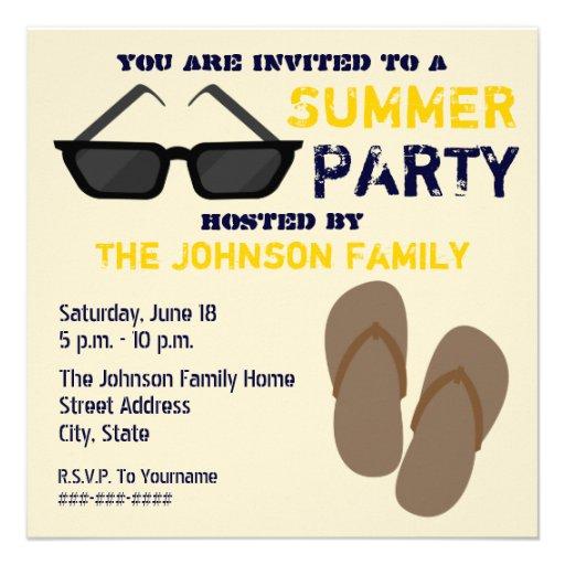 Summer Party Invitation Flip Flops & Sunglasses