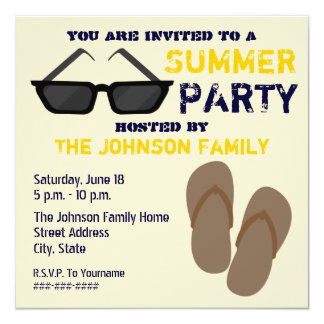 Summer Party Invitation Flip Flops & Sunglasses