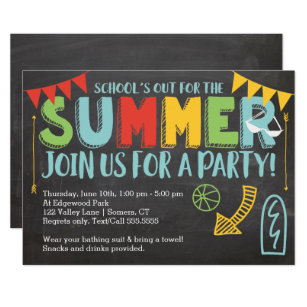 Summer Party Invitation School S Out Invitation